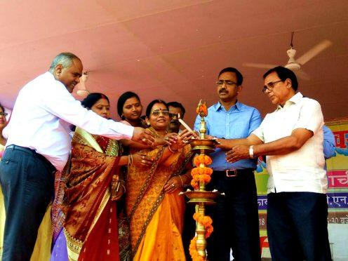DM Md.Sohail , Samajsevi Dr.Bhupendra Madhepuri , Zila Parishad Adhyakshya Manju Devi and others inaugurating106th Bihar Diwas Function at BN Mandal Stadium Madhepura.
