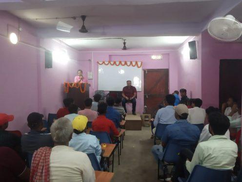 Shikshavid Dr.B N.Yadav Madhepuri and IAS Aditya kumar in motivational classes organised by UPSC coaching centre at Madhepura.